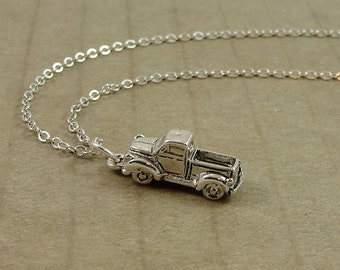 Pickup Truck Necklace, Silver Old Truck Charm on a Silver Cable Chain