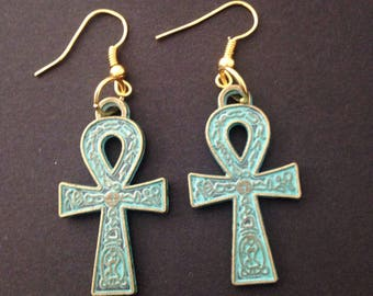 Egyptian ankh earrings- bronze- egyptian- pretty- gifts for her