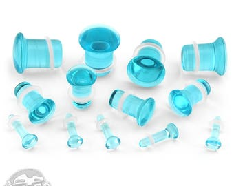 """Ocean Blue Glass Plugs - Single Flare (8G - 1/2"""") Sold In Pairs"""