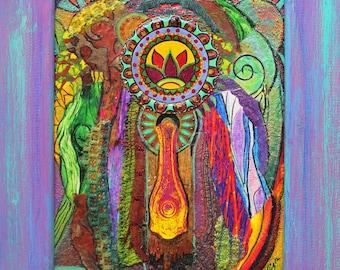 Boho Mixed media collage, recycled mixed media, upcycled mixed collage, mixed media assemblage, lotus flower, Hippie art,zen art