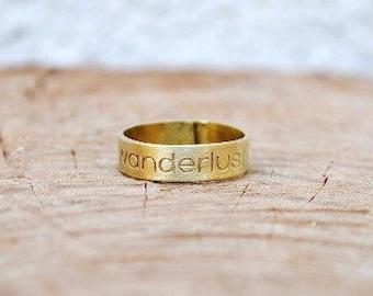 Wanderlust Ring / Thumb Ring / Gifts for Women / Graduation Gift / Engraved Ring /Spinner Ring / Fidget Ring / Fernweh / Daily Inspiration