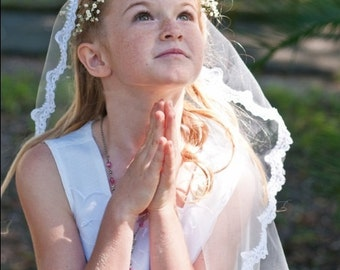 Mantilla First Communion Veil, First Communion Vail, Communion Veil, Communion Viel, MLV-17