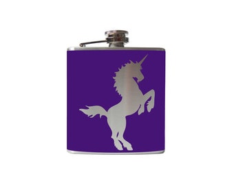 Unicorn Flask- Personalized, CUSTOM COLOR, SIZE - Waterproof Vinyl, Freezer Safe