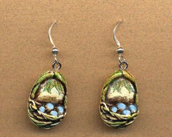 Tiny bird nest blue egg dangle  earrings Moosup Valley Designs