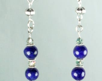 Earrings blue lapis lazuli and small iridescent crystals - a jewel By MP Bertrand 123Pierres