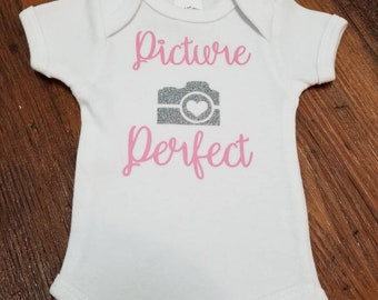 Picture Perfect with Camera onesie | Newborn bodysuit | Baby girl onesie
