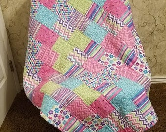 Bright Pink, Purple, Turquoise and Green Quilt