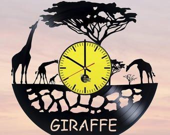 Giraffe Vinyl Record Wall Clock Home Decor
