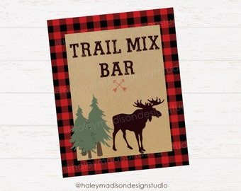 Lumberjack sign, Trail Mix Bar sign, Flannel, Plaid, Lumberjack party decor DIGITAL FILE