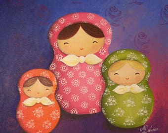 Acrylic painting on canvas Board: cute Russian dolls