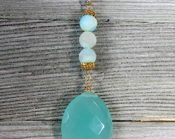Chalcedony & Peruvian Opal Long Necklace, Light Blue Green Chalcedony Pendant, Gold Pyrite Chain Jewelry