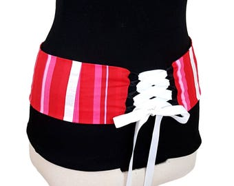 Candy Stripe Reversible Belly Dance Corset Style Lace Up Belt / Shaped to Fit Your Hips / Valentines Colors / Hip Belt / Pink Stripe
