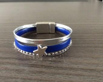 Bracelet manchette enfant Bleu et Argent