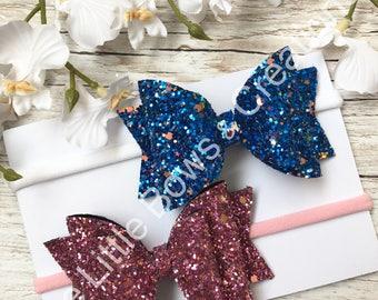 Hair bow set, headbands, hair bows, glitter bows,
