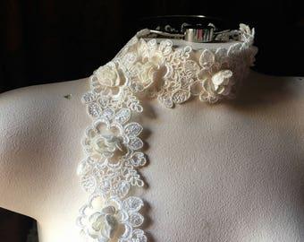 """18"""" Ivory 3D Lace Alencon Lace Trim for Bridal, Garments, Costumes"""