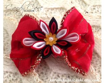 Candy Cane Blossom - Tsumami Kanzashi Hair Ornament Barrette Clip by Christina Stoppa