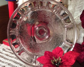 Antique Tree of life pattern Early American pressed glass open compote stand dish EAPG