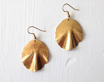 Gold Shell Inspired Dangle Earrings.