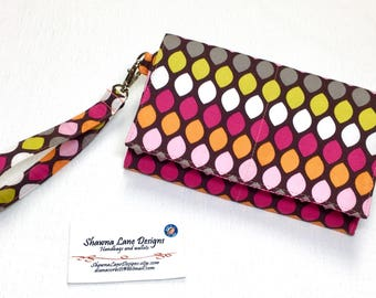 cell phone wristlet wallet, brown pink colorful wallet, Women's Wallet with strap, mobile phone accessory, credit card keeper, small purse