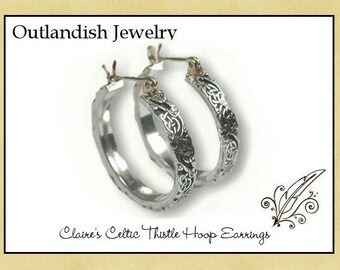 Claire's Celtic Thistle  Hoop Earrings - Antiqued