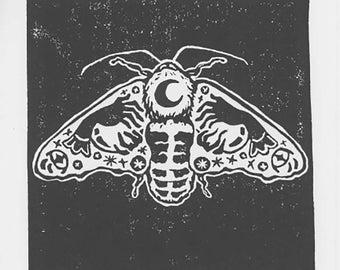 "Leaf Moth Print, Handmade Linocut Print, 6""x 6"""