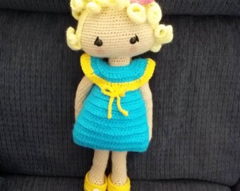 Hand crocheted Veronica Doll - Dress and undress doll.  Blonde Curly Hair - Turquoise/Yellow Dress - FREE SHIPPING