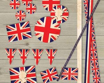 Vintage Union Jack British Queen Collage Sheet printable clipart british flag printable london download England printable digital scrapbook