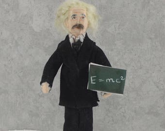 Albert Einstein Doll Miniature Geek Science Art Figure  by Uneek Doll Designs