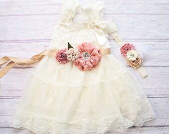 Lace Flower Girl Dress, Flower Girl Dresses, Beach Wedding Dress, Ivory Lace Dress, Boho Wedding Dress, Boho Flower Girl Dress, Mauve Dress