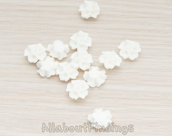 CBC138-WH // White Colored Morning Glory Flower Flat Back Cabochon, 6 Pc