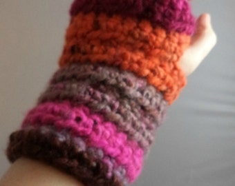 Multi-Colored (Warm) Striped Crocheted Wrist Warmers (size S-M) (SWG-WW-SJ09)