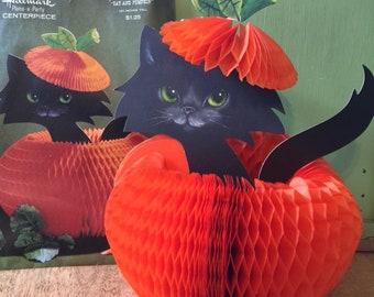 Vintage Hallmark Honeycomb Halloween Centerpiece, Cat and Pumpkin