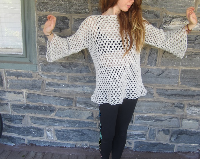 CROCHET TUNIC SWEATER, Oversize flared tunic  Womens sweater, boho hippie  sweater,  priestess tunic,  festival clothing, gypsy clothing
