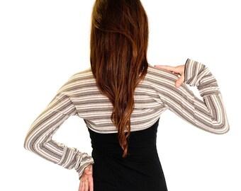 Womens Long Sleeve Shrug Black and Sand STRIPED FREEDOM SHRUG, bolero, dancewear, festival clothing, boho