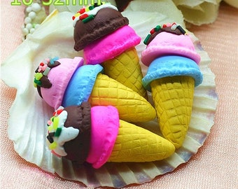 30pcs/pack 16*32mm polymer clay kawaii ice cream cone cabochon free shipping