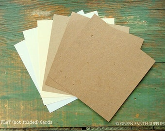 """100 Square Flat Cards Only: Choose 5"""", 5.25"""" or 5.5"""" Recycled Blank, Rustic Kraft Brown, Light Brown, White, or Natural White, 65lb - 105lb"""