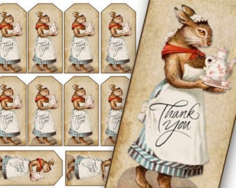 Bunny Rabbit Thank You Tags, Printable Tea Tags, Tea Bookmarks, digital gift tags, thank you tags, tea party tags, Custom Order Tags