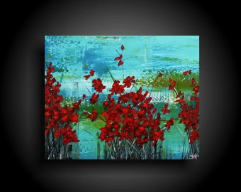 Large Abstract Painting 30 x 24 Red Flowers Blue Green Painting Textured Canvas Wall Art Home Decor Outsider Art Modern