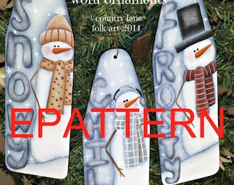Tole painting epattern, Snowman word ornaments, snowman pattern, Christmas pattern, painting patterns, ornament pattern, best selling items