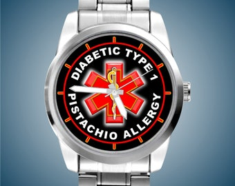 NEW Diabetic Type 1 and Pistachio Allergy, Red Caduceus Symbol Medical Symbol Identification Medical Alert Man's Classic Stainless Watch