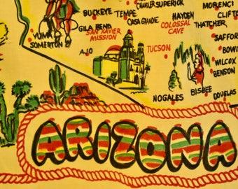 Vintage ARIZONA HALF APRON Souvenir Travel Map Native American Mid Century Cotton Yellow