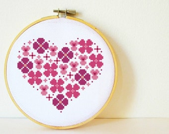 Counted Cross stitch Pattern PDF. Instant download. Flowers Heart. Includes easy beginner instructions.
