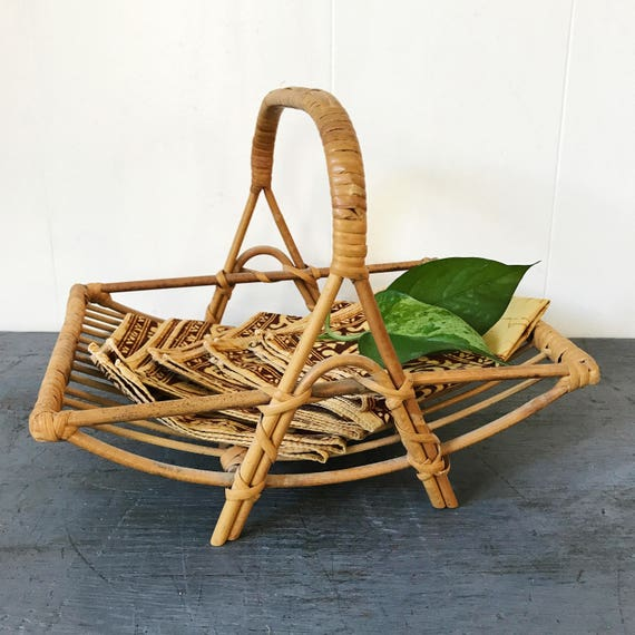 rattan table caddy - bamboo napkin holder - fruit bowl - mail sorter - plant basket