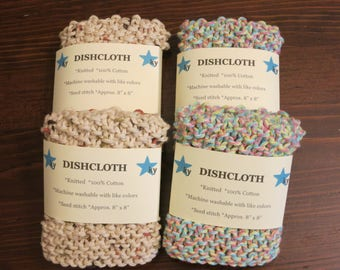 Handmade Knitted Cotton Dishcloth