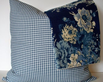 Blue Gingham Pillow Blue Check Pillow Cover French Country Pillow Farmhouse Check Pillow 0