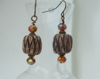 Earth Tone Earrings with Clay Bead and Crystals