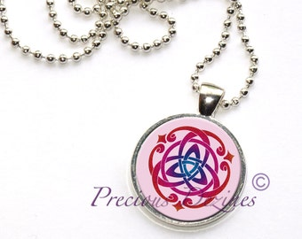 Trinity Knot Pendant. Triquetra trinity knot Celtic knot necklace in pink and red
