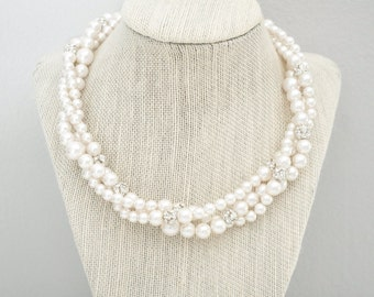 Statement Bridal Necklace, Chunky Pearl Necklace, Multi Strand Wedding Necklace