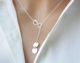 Customized Two initial Disks and Infinity Lariat &Y necklace- All Sterling Silver- Love forever, you and me Necklace, Sweet gift for her