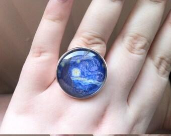 Van Gogh Starry Night Glass Cabochon Ring